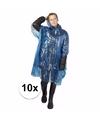 10x wegwerp regenponcho blauw