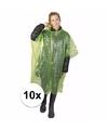 10x wegwerp regenponcho groen