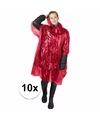 10x wegwerp regenponcho rood