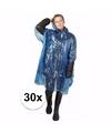 30x wegwerp regenponcho blauw