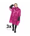 3x wegwerp regenponcho roze