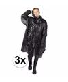 3x wegwerp regenponcho zwart