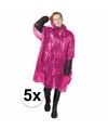 5x wegwerp regenponcho roze