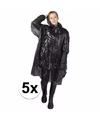 5x wegwerp regenponcho zwart