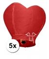 5x wensballon rood hart 100 cm