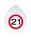 Ballonnen 21 jaar verkeersbord