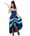 Blauw cabaret danseres kostuum