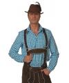 Oktoberfest Blauw/witte Tiroler blouse lange mouw