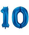 Cijfer 10 ballon blauw 86 cm