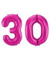 Cijfer 30 ballon roze 86 cm