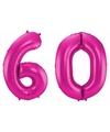 Cijfer 60 ballon roze 86 cm