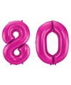 Cijfer 80 ballon roze 86 cm