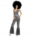 Disco catsuit zilver voor dames