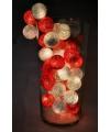 Feestverlichting rood/witte balletjes