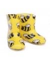 Gele kinder regenlaarsjes met bijen