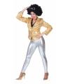 Glimmende zilveren legging voor dames