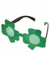 Groene glitter bril klavertje drie