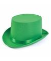 Groene hoge hoed satijn look