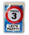 Happy Birthday kaart met button 3 jaar