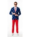 Luxe heren pak met Amerikaanse vlag print
