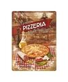 Muurplaatje pizza van metaal 30 x 40 cm