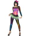 Neon skelet kostuum vrouwen