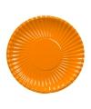 Platte kartonnen bordjes oranje 23 cm