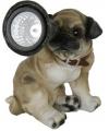 Tuinbeeldje mops puppie met solar licht