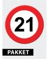 Verkeersbord 21 jaar feestartikelen pakket