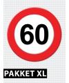 Verkeersbord 60 jaar feestartikelen pakket XL