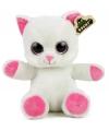 Witte kat knuffel 23 cm