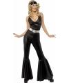 Zwart disco kostuum voor dames