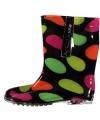 Zwarte kinder regenlaarzen met neon stippen